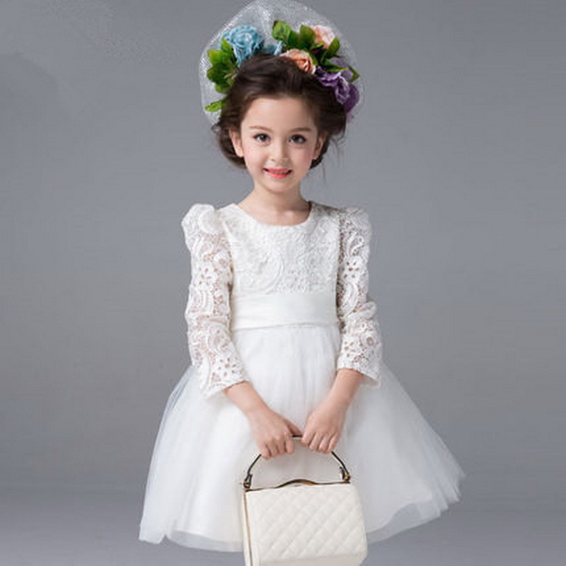 2015 New Arrival Girls European Style Wedding Dress Kids Lace &amp; Mesh Princess Dress Girls Brand Party Long Sleeve Dress , LC453<br><br>Aliexpress