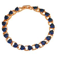 Topaz overlay Heart design 18K Gold Plated Charm Bracelets for women Deep Blue crystal Elegant fashion jewelry TBS773A(China (Mainland))
