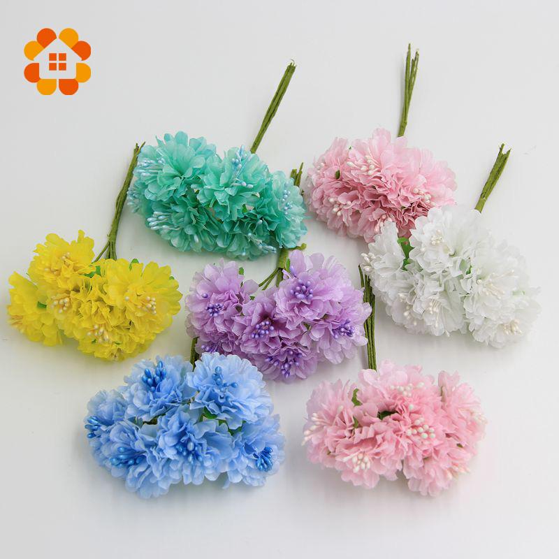 2015 3cm 12pcs/lot Silk artificial Stamen Bud Bouquet flower for home Garden wedding Car corsage decoration crafts plants(China (Mainland))