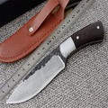 Straight Handmade forged Damascus Steel pattern hunting knife fixed blade knife 58HRC ebony handle