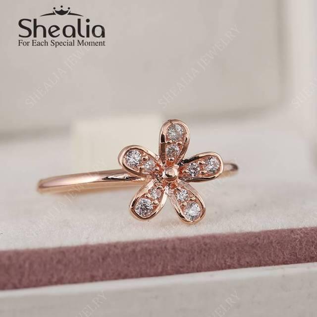2016 весной нью-роза золото ослепительная ромашка кольца для женщин с четкими CZ 925 серебряный цветок кольца ювелирных украшений RIP160