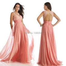 A Line Chiffon 2014 Lace Beading Pleat Open Back Dress Floor Length Gown Formal Dress Fashion Mother Of The Bride Dresses(China (Mainland))