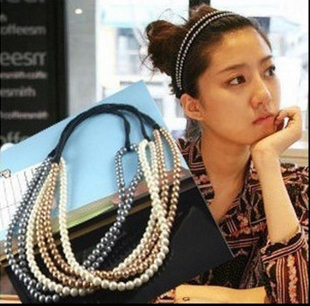 2015 Womens Girls Elastic Pearl Hair Hoop Double Lovely Pearl Hair Band Headband Womens 2 Layers Pearl Hair Band(China (Mainland))