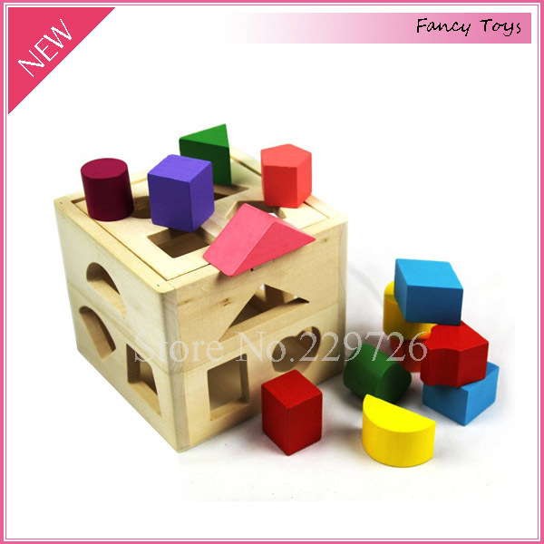 Toys For 13 : Wooden shape sorting box educational toy for children with