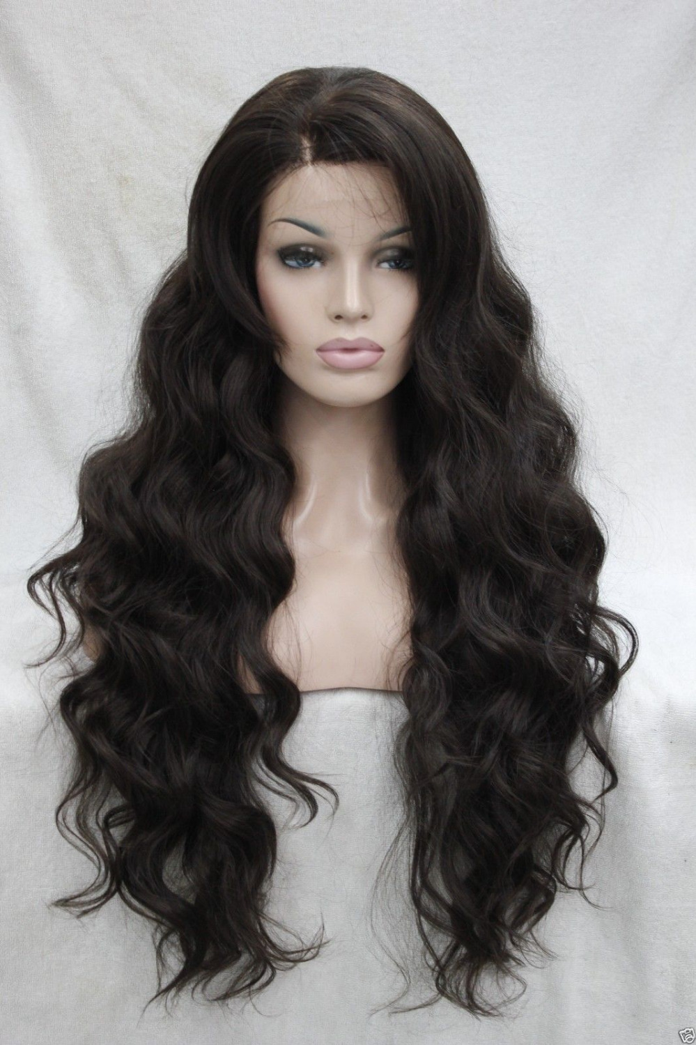 0000120 Lace Front High Quality Synthetic Brown 6# Wavy Heat Friendly Hair Long Full Wig<br><br>Aliexpress