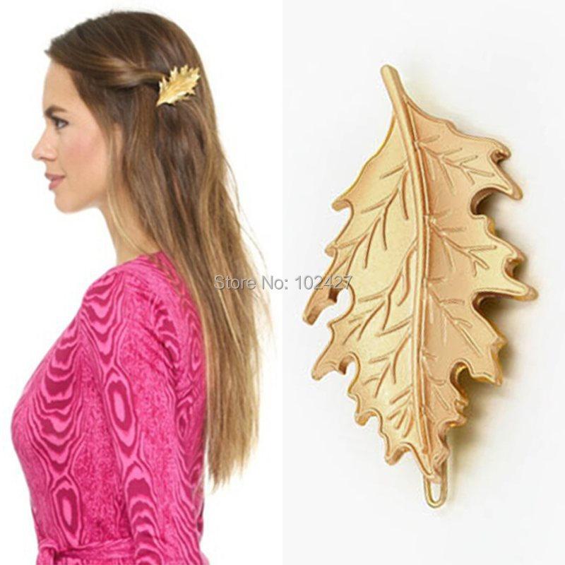 Vintage Fashion Hair Accessories Europe Golden Metal Leaf Barrettes Hair Clip Clamp Hairpin Headwear Accessories for Women(China (Mainland))