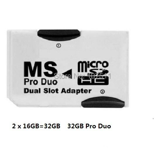 Dual Pro Memory Stick Pro Duo 32GB ( 2 x 16GB Micro SD ) Adapter For Sony Psp(China (Mainland))