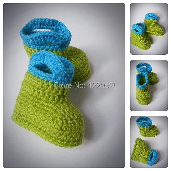 Green and Blue Crochet Baby Rain Boots, Crochet Booties ...