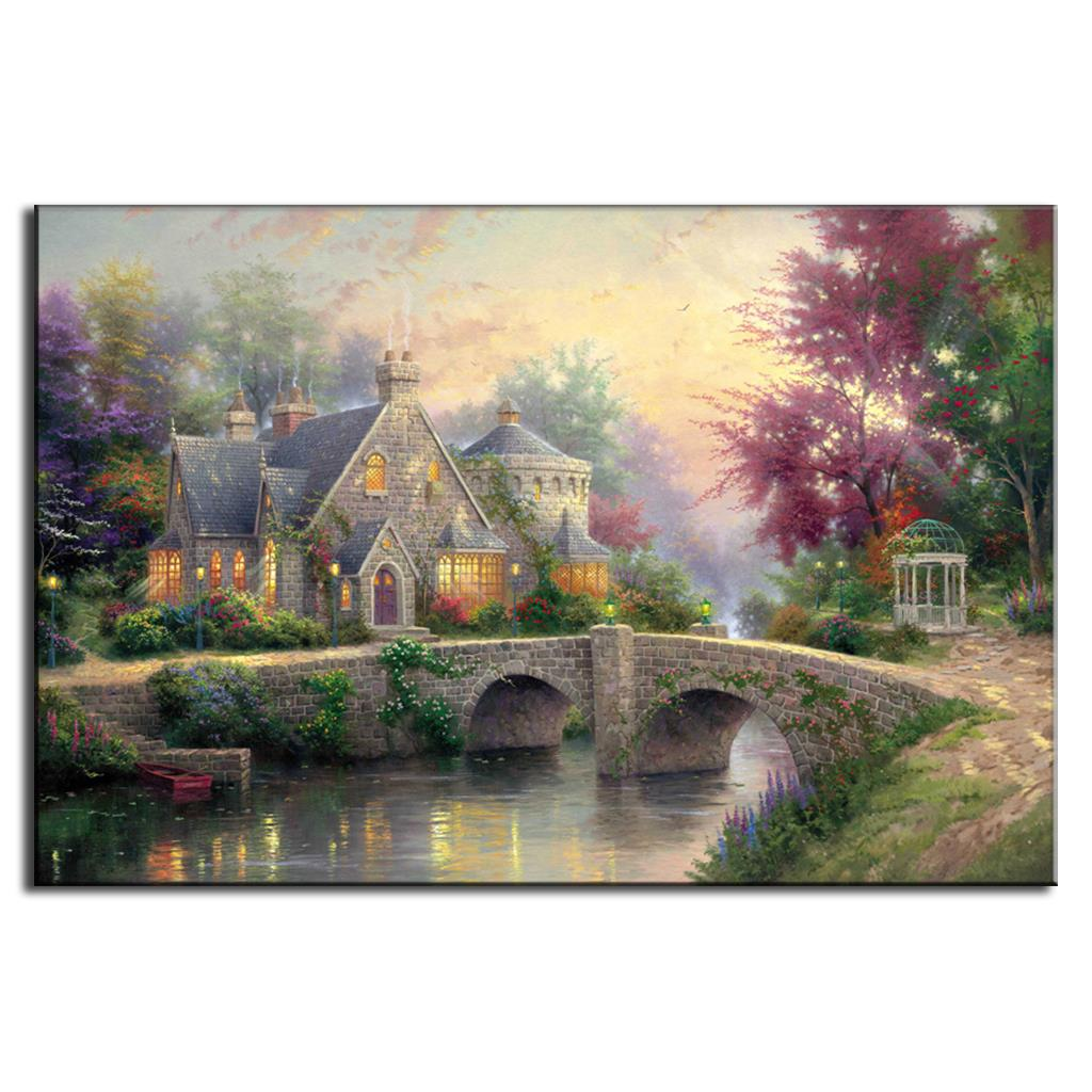 1 Pcs Thomas Kinkade Oil Art Canvas Painting Landscape Painted Painting for Kitchen Mediterranean Home near Stone Bridge Thomas(China (Mainland))