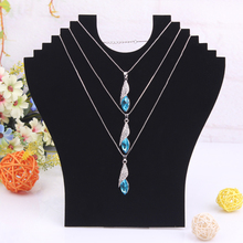 Free Shipping High Quality Hot Necklace Bust Jewelry Pendant Chain Display Holder Stand Neck Easel Showcase Black Color