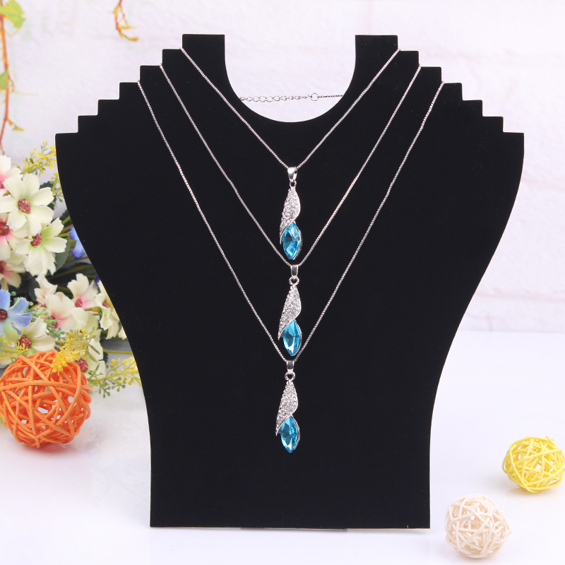 Free Shipping High Quality Hot Necklace Bust Jewelry Pendant Chain Display Holder Stand Neck Easel Showcase Black Color()