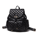 New Preppy Style Fashion Backpack Women Solid Color Rhombic Plaid Drawstring Small Backpack Ladies Designer Travel