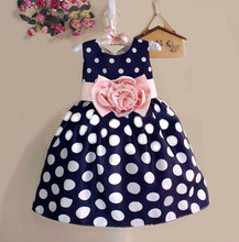 2015 New Stylish Kids Toddler Girls Princess Dress Sleeveless Polka Dots Bowknot Dress! 2 color Top quality navy blue white