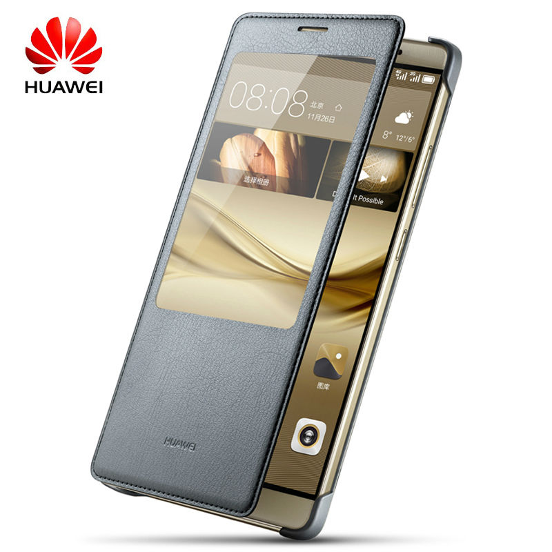 100% Original Huawei Mate 8 Flip Case Leather Housing For Ascend Mate 8 Protective Cover Smart Window View Auto wake up Shell(China (Mainland))