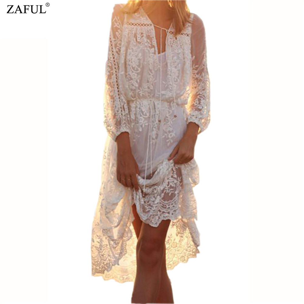 Zaful fashion summer v neck long sleeve embroidery
