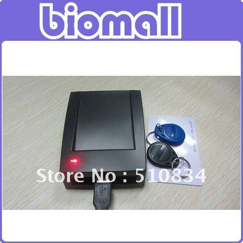 HomeyMart 10 digits 125KHZ USB ID EM4100 RFID Proximity Card Reader  + 5 Cards + 5 Tags