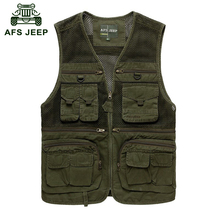 AFS JEEP 2016 Summer men outdoor sport military casual brand vests coats reporter shoot army camp man khaki grid vest coat 6871(China (Mainland))