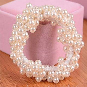 Created Pearl Hair Rope Beaded Multilayer Hair Ring Hairband Elegant Hair Accessories CC2245
