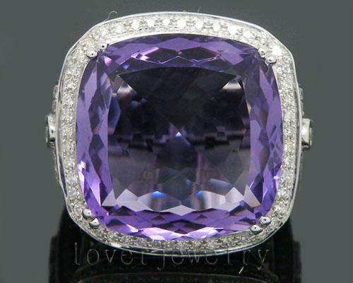 Solid 14Kt White Gold 25.42Ct Diamond Purple Amethyst Wedding Ring<br><br>Aliexpress