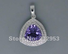 Vintage Pear 15x20mm Solid 14Kt White Gold  Purple Amethyst Pendant Elegant Gift for Girl(China (Mainland))