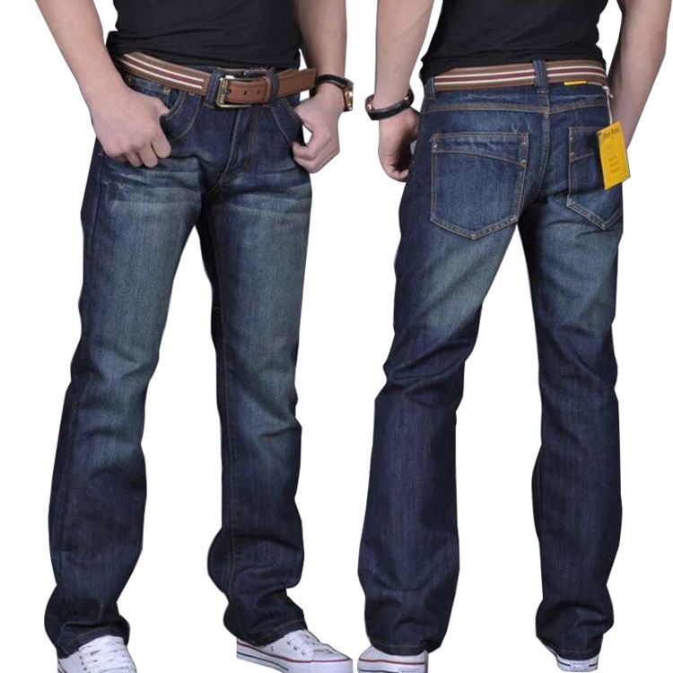 2015 Plus Size 40 42 44 46 48 Jeans Relaxed Fit Straight Jean Blue Denim Large Big Jeans Brand Trousers Pants for Men Man(China (Mainland))