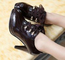 Envío gratis botines moda mujer calzado de invierno corto nieve zapatos de tacón alto sexy medio caliente bota P6834 EUR tamaño 34-48(China (Mainland))