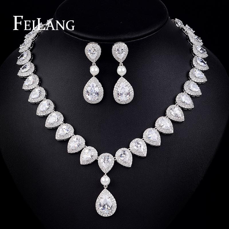FEILANG Classic Luxury Top Quality AAA+ Cubic Zirconia Hanging Pearl Wedding Jewelry Sets For Bridal (FSSP160)<br><br>Aliexpress