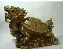 RARE collectible Bronze Fengshui Dragon Turtle Statue Free shipping