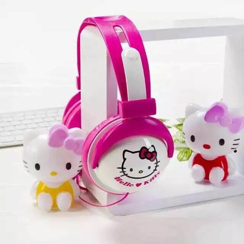 Hello Kitty Cartoon Earphone Stereo Headphone with Microphone and Cute Shape for PC Phones and MP3/4(China (Mainland))