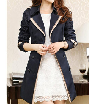 Fashion Double Breasted Trench Coat For Women Turn-Down Collar Spring Coat Plus Size Overcoat Slim casaco feminino