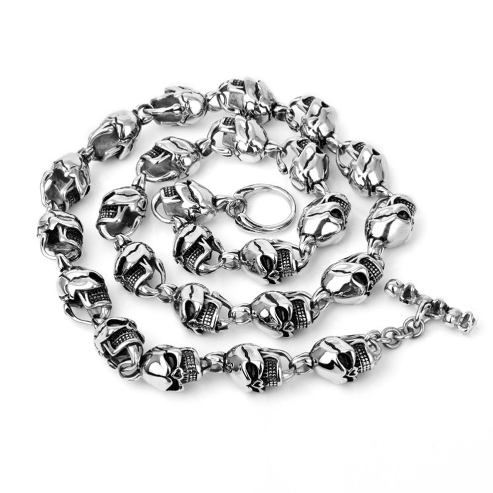 316L Stainless Steel Hip Hop Mens Harley Jewelry Biker Huge Titanium Skull Skeleton Necklaces Gothic Heavy Punk Necklace  -  Fashion watches jewelers store