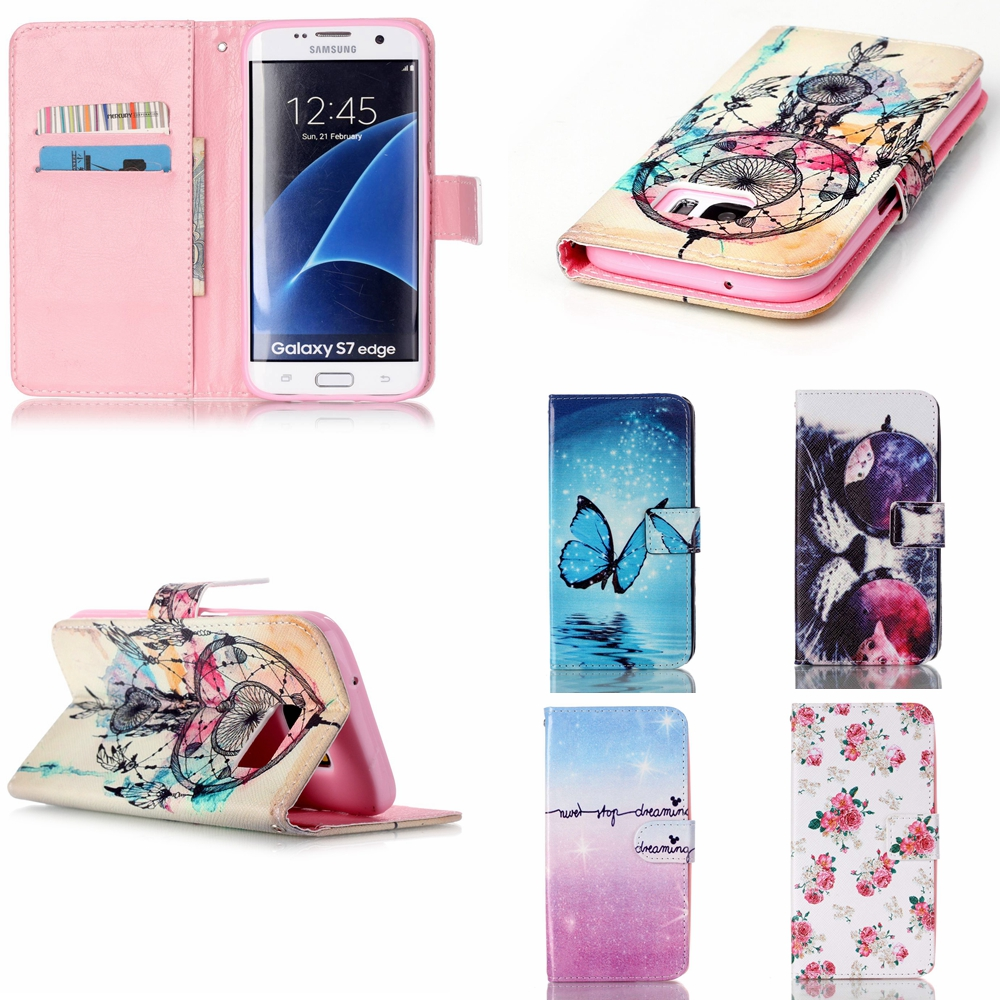 New! Dandelion Painting PU Leather Case For Samsung Galaxy S7 Edge G9350 Case Campanula Flip Wallet Stand With Card Holde Cover(China (Mainland))