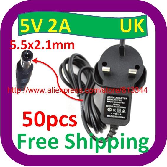 50 pcs Free Shipping 100V-240V Converter Adapter DC 5V 2A / 2000mA Power Supply UK Plug AC/DC 5.5 mm x 2.1mm<br><br>Aliexpress