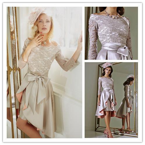 Мать платья невесты три квартал высокая воротник фиолетовый кружево короткая невест ...