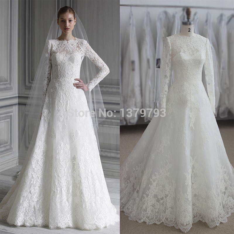 Elegant long sleeve wedding dresses muslim dress 2015 for Long sleeve white lace wedding dress