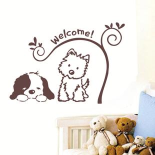 MeleStore Cute Cartoon Lovely Dogs Animal Welcome Wall Sticker For Kids Room Shop Glass Home Decor Classroom Door Window(China (Mainland))