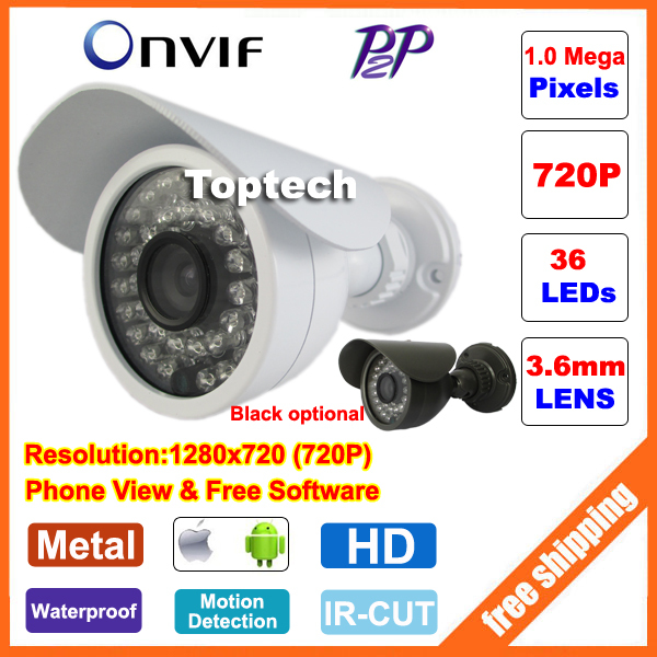 HD 720P CCTV camera 1.0 Megapixels 36 IR LEDs night vision Outdoor Waterproof network CCTV IP camera P2P ONVIF 2.0 PC&Phone view(China (Mainland))