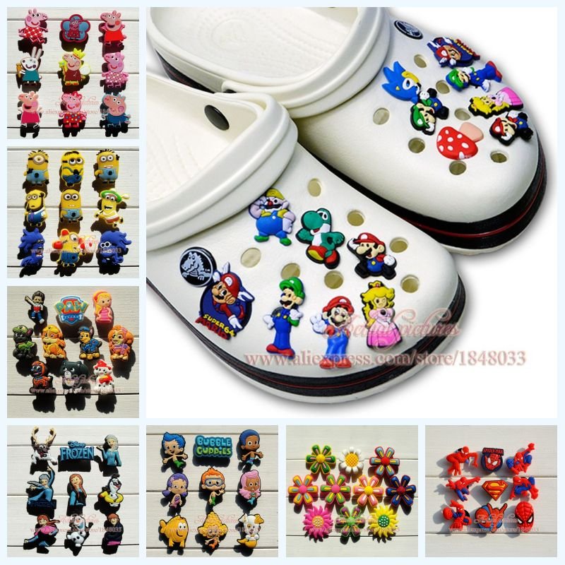 Mixed 9-10/pcs Little Ponies Minions PVC Spider-Man Cartoon shoe charms Fit For croc Jibz shoe accessories Kids Party Gifts(China (Mainland))