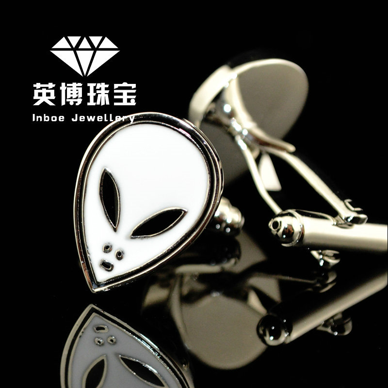 INBOE Jewellery silver Alien star wars cufflinks male French shirt cuff links for men's Jewelry Gift free shipping 156187(China (Mainland))