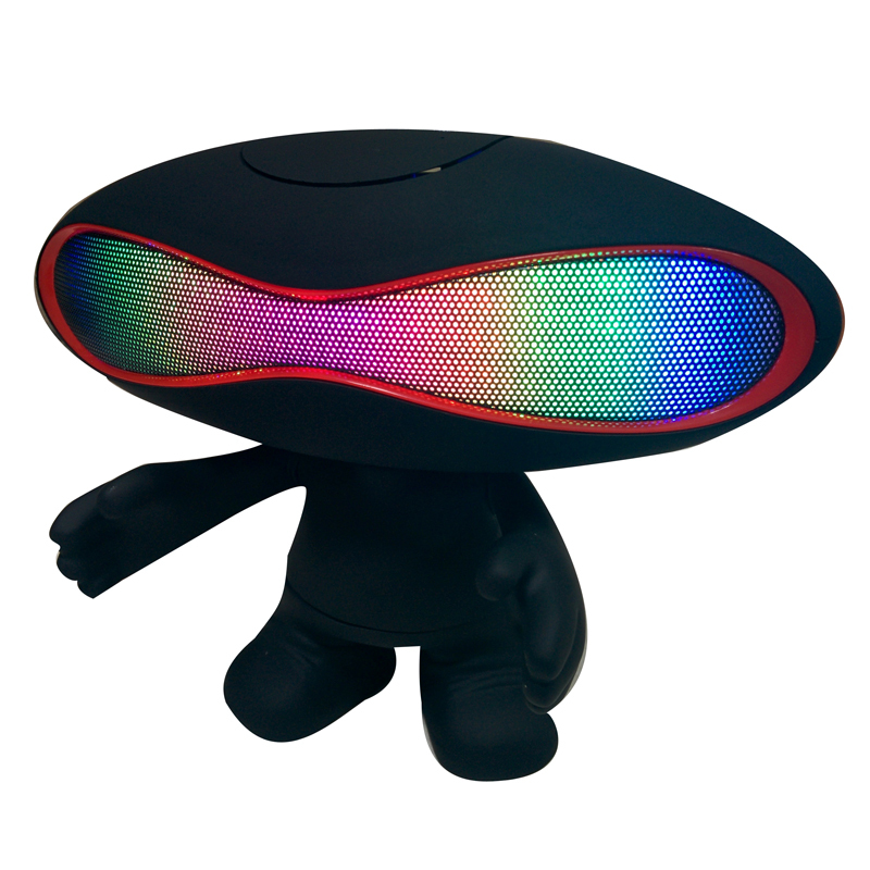 Cute Cartoon Alien Brand Best Pill Bluetooth Speaker LED Light Portable Mini Wireless Rugby Music Player With Stand Holder Dude(China (Mainland))
