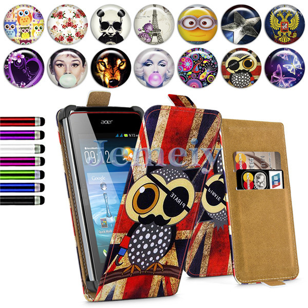 "4"" Universal Phone Cases For Acer Liquid Z200 4 inch, Minions Flower Girl Printed PU Leather Card Skin Flip Cover Stand Case(China (Mainland))"
