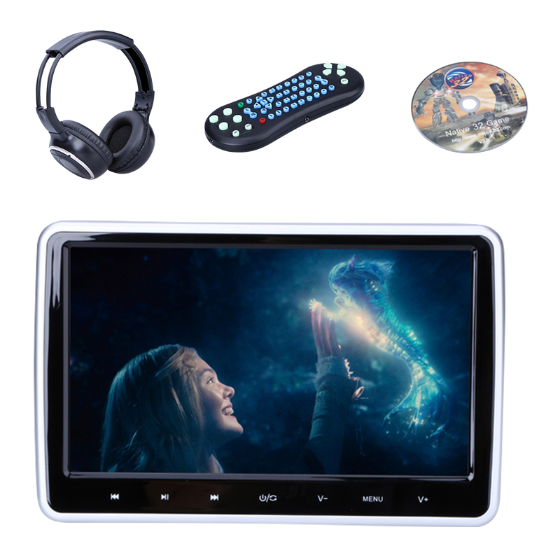HDMI 10 Inch HD Digitl TFT LCD Screen Touch Car Headrest Monitor DVD Player Support IR FM USB SD Headphones Game Remote Control(China (Mainland))