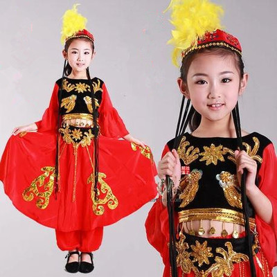 Female child clothes dance performance wear chinese folk dance costume children's costumes india clothing belly dance costume(China (Mainland))