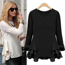 Autumn Womens Tops Fashion 2015 Black White Shirt Casual Chiffon Ruffles Peplum Top Solid Long Sleeve Shirt Women Blouses OZD(China (Mainland))