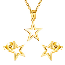 2016 Fashion 18k gold plated Stianless steel five star jewelry sets, luxury set Earrings And pendant ,fashion jewelry earrings(China (Mainland))