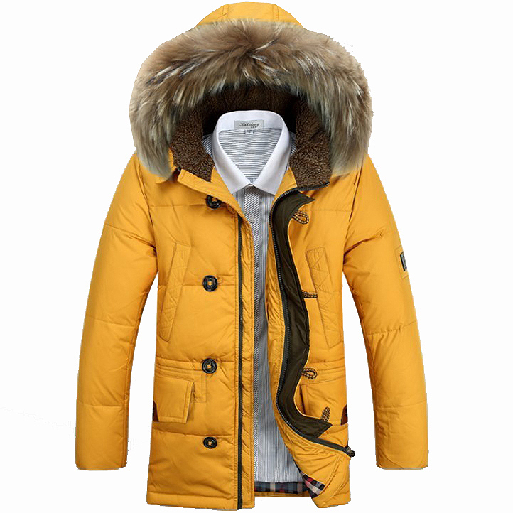 2015 New Fashion Down jacket Men Winter Jacket&Coats Warm Thickening Middle Long Clothing Casual Fur Hooded OverCoats Plus Size(China (Mainland))