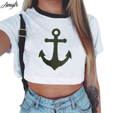 Awaytr Women's Summer Anchor Printed Crop Top 2017 Short Sleeve Cotton T Shirts Brand New Casual Tees Cute Cropped Top(China (Mainland))
