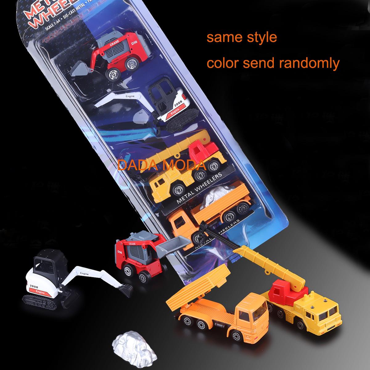 Free Shipping silequ brand Diecast metal wheelers engineering car model toy similar as Siku excavator crane truck toy 4pcs set(China (Mainland))