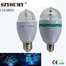 Buy SZYOUMY E27 3W 6W LED lamp RGB Rotating Stage Light Holiday Bulb AC 110-265V Home Decoration Disco DJ Party Dance lighting for $34.38 in AliExpress store