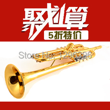 free shipping Western instruments professional small Trumpet pure copper pipe production B Trumpet + case + accessories(China (Mainland))